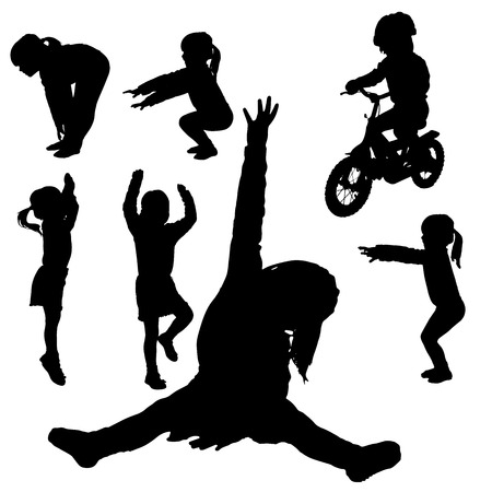 Vector silhouette of little girls who practice. Vector