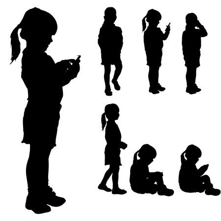 Vector silhouette della ragazza su uno sfondo bianco. Archivio Fotografico - 27590872