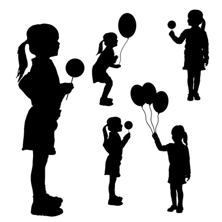 Vector silhouettes of girls with balloons on white background.