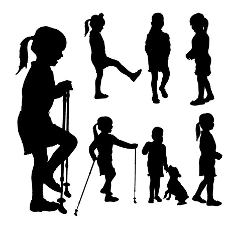 Vector silhouette of girl with Nordic walking. Vector