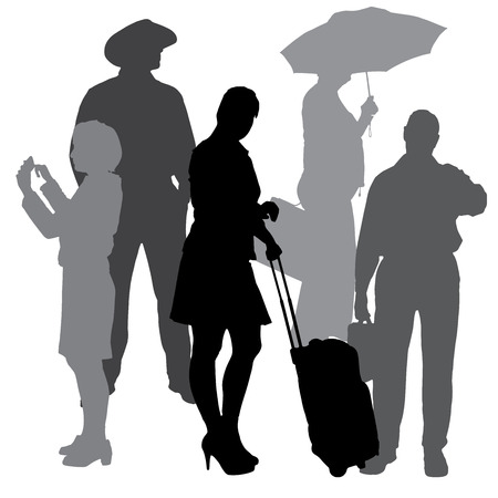 Vector silhouettes of business people on a white background. Vector
