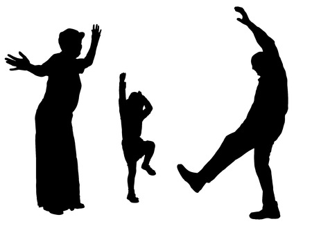 Vector silhouette of family on white background. Vector