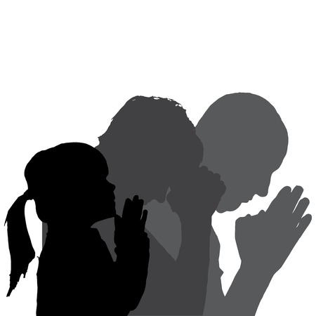 silhouette of family in different situations. Vector