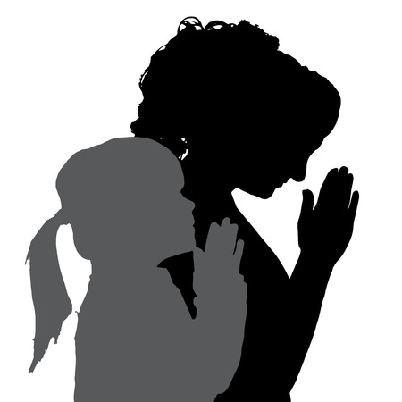 silhouette of people praying in different situations. Vector