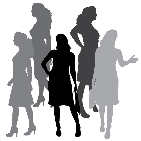 silhouette of businesswoman on a white background.