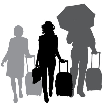 sexy umbrella: silhouette of business people on a white background.