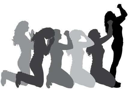 Silueta de las personas que rezan en un fondo blanco. Foto de archivo - 27813357