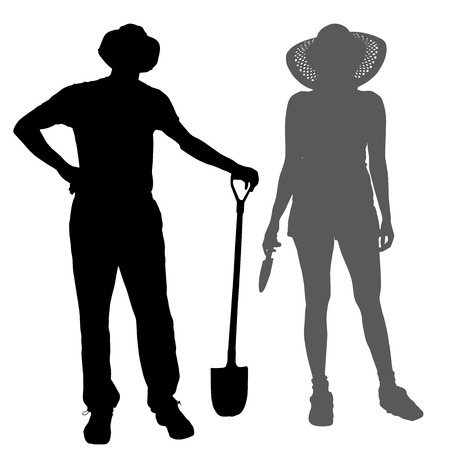 silhouette of a gardener on white background.  Vector
