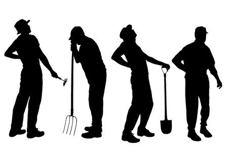 back hoe: silhouette of a gardener on white background.  Illustration