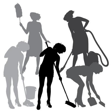 dienstverlening: silhouet van een schoonmaakster op een witte achtergrond. Stock Illustratie