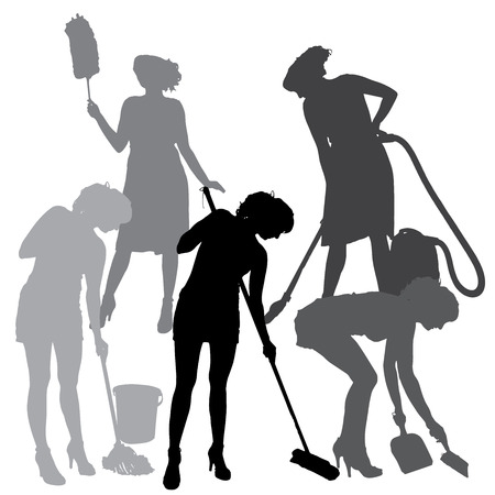 cleaning woman: silhouette of a cleaning lady on a white background.  Illustration