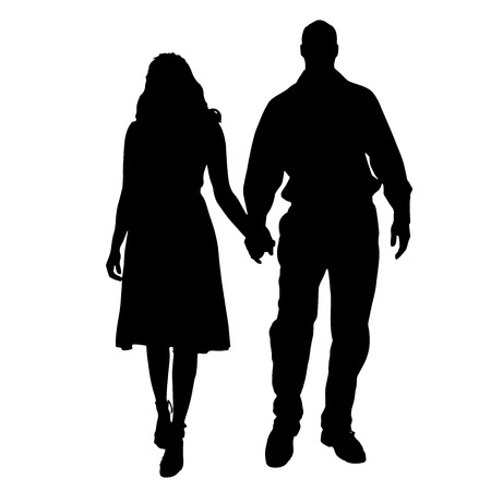 sexy young couple: silhouette of people on a white background. Illustration