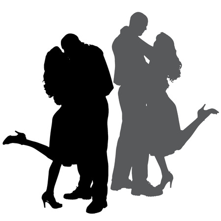 romantic sexy couple: silhouette of people who dance on a white background.