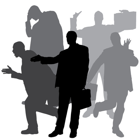 silhouette of businessman on a white background. Illustration
