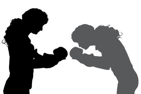 silhouette of family respect on white background. Illustration