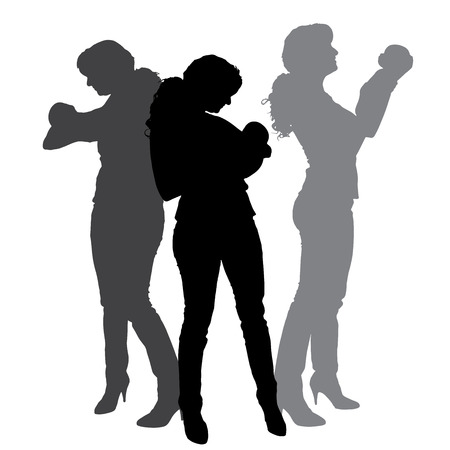 silhouette of family on white background.