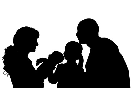 silhouette of family on white background. Vector