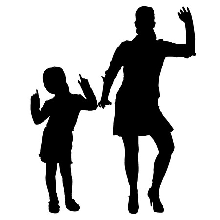 silhouette of family dancing on white background. Vector