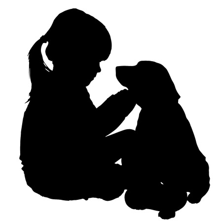 whelps: silhouette of child with dog on a white background.