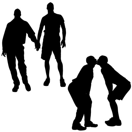 homosexual sex: silhouette of gay people on a white background.