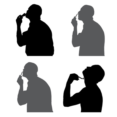 silhouettes people shaving in profile on white background.