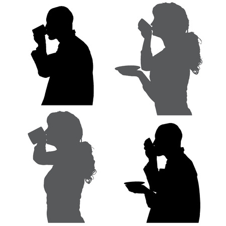 silhouettes people drinking in profile on white background. Vector