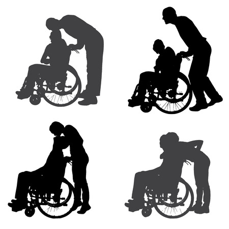 silhouettes of people in a wheelchair on a white background.