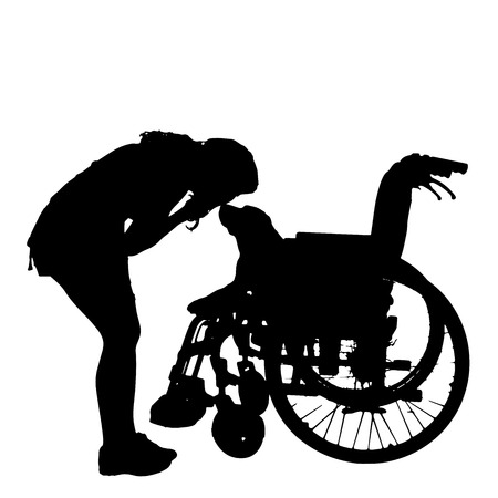 dog wheelchair: silhouettes of dog in a wheelchair on a white background.