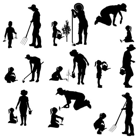 silhouette of the woman with children. Illustration