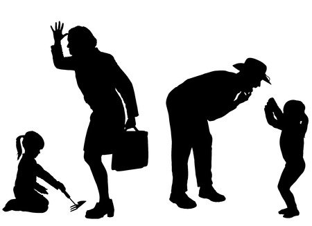 hassle: silhouette of family on a white background. Illustration