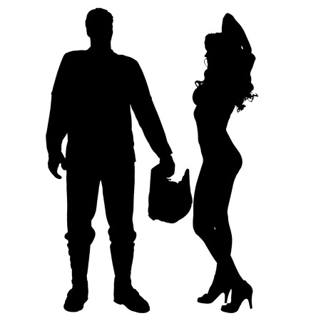 fmx: silhouette of couple on a white background. Illustration