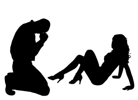 striptease: silhouettes of sexy women with a man on white background. Illustration