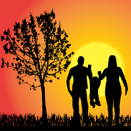 silhouette of family on orange background Vector