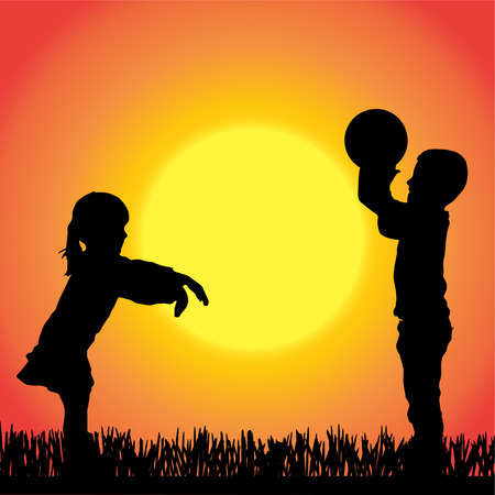 silhouette of children on orange background. Vector