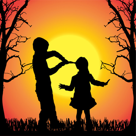 silhouette of children on a orange background. Vector