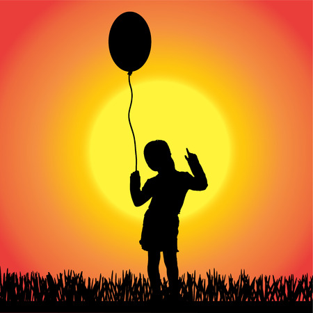 silhouette of a little girl with balloon on orange background. Vector