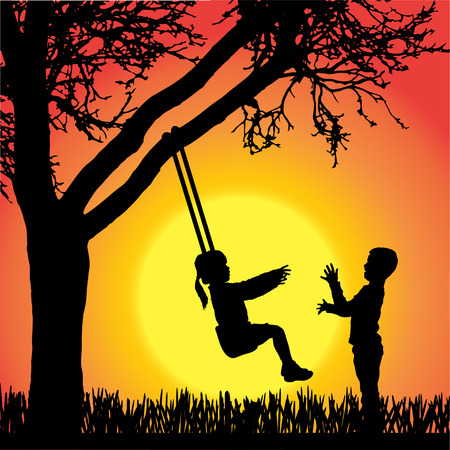 silhouette of children playing swing under tree on orange background. Vector