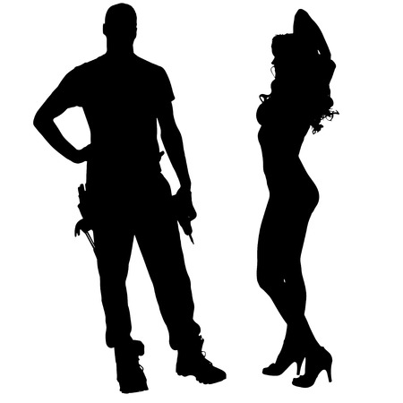 young worker: silhouette of couple on white background.