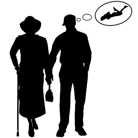 silhouette of old peoples on a white background.  Vector