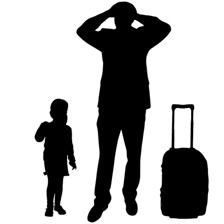 fale: Vector silhouette of family on white background.