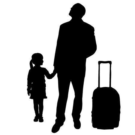 fale: silhouette of family on white background.