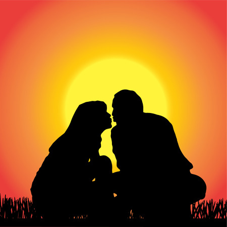 romantic sexy couple: silhouette of people kissing on orange background.