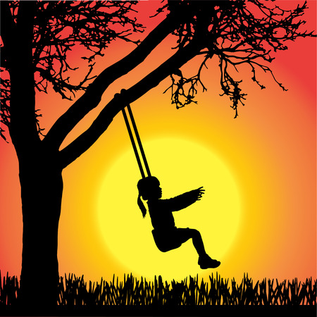 silhouette of children on swing in orange background. Vector