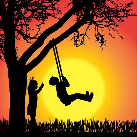 silhouet van spelende kinderen een schommel op oranje achtergrond. Stock Illustratie