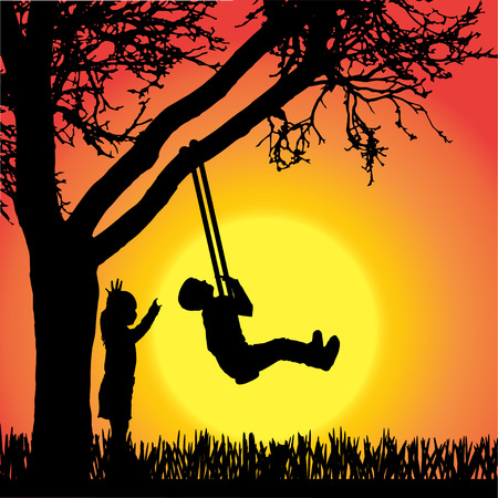 young tree: silhouette of children playing a swing on orange background.