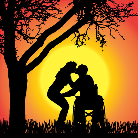 silhouettes of people in a wheelchair kissing on orange background.  Vector