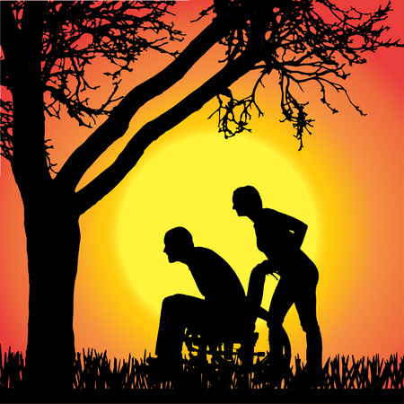 silhouettes of people in a wheelchair on orange background.  Vector