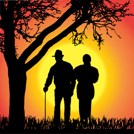 silhouette of old people on a orange background.  Vector