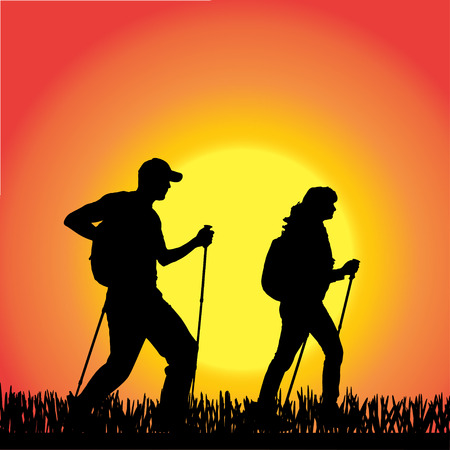 silhouette of people with Nordic walking. Vector
