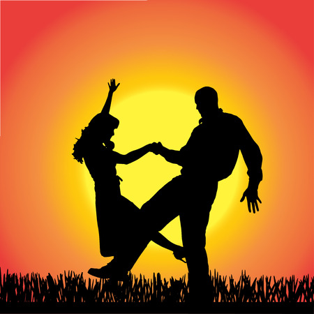 silhouette of people dancing on a orange background. Vector